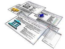 Interfaces. Graphical User Interface developped with 3D applications Royalty Free Stock Images