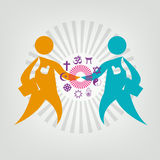 Interfaith Dialogue Flat concept. Editable Clip Art. Two leaders meet and shakes hand. Religious symbols on Figures' Handshake stock illustration