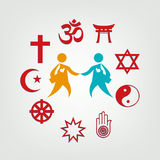 Interfaith Dialogue illustration. Editable Clip Art. Religious symbols surrounding two meeting persons royalty free illustration