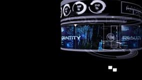 Interfaz computacional de la seguridad en fondo negro ilustración del vector