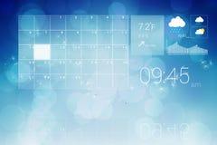 Interfaz con el tiempo y el calendario del tiempo Foto de archivo libre de regalías