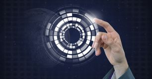Interfaz conmovedor del círculo de la mano stock de ilustración