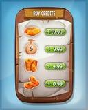 Interfaz de compra de los créditos para el juego de Ui stock de ilustración