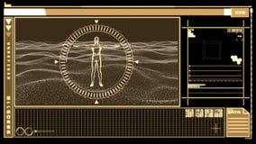 Interfaz de Digitaces que exhibe la figura humana rotatoria ilustración del vector