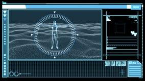 Interfaz de Digitaces que muestra la figura rotatoria del hombre stock de ilustración
