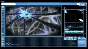 Interfaz de Digitaces que muestra la neurona que pulsa a través de sistema nervioso stock de ilustración