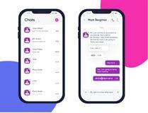 Interfaz de la charla del teléfono del vector Mensajes del SMS Burbujas del discurso Burbujas del servicio de mensaje corto Inter stock de ilustración