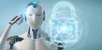 Interfaz de la protección de seguridad del web usado por la representación del robot 3D ilustración del vector