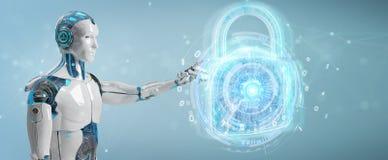 Interfaz de la protecci?n de seguridad del web usado por la representaci?n del robot 3D ilustración del vector