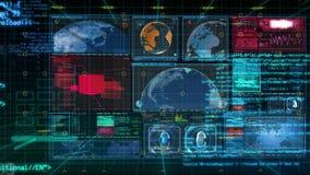 Interfaz de la tecnología - animación de la pantalla de visualización de los datos del ordenador