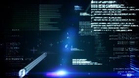 Interfaz de la tecnología en negro y azul