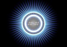 Interfaz de reloj ligero azul del chapoteo moderno abstracto tecnológico Imagen de archivo