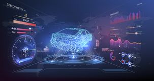 Interfaz de usuario futurista HUD UI Interfaz de usuario gráfica virtual abstracta del tacto Servicio del coche en el estilo de H libre illustration