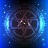 Interfaz de usuario futurista de Sci fi Estrella de David ilustración del vector