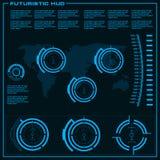 Interfaz de usuario gráfica virtual azul futurista del tacto Imagen de archivo
