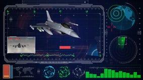 Interfaz de usuario gráfica virtual azul futurista HUD del tacto Aeroplano del F-16 del jet Foto de archivo