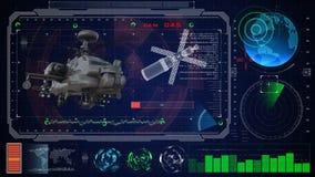 Interfaz de usuario gráfica virtual azul futurista HUD del tacto Rapaz militar del helicóptero del ejército Fotografía de archivo libre de regalías
