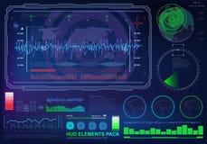 Interfaz de usuario gráfica virtual futurista del tacto, blanco stock de ilustración