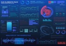 Interfaz de usuario gráfica virtual futurista del tacto, blanco Imágenes de archivo libres de regalías