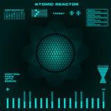 Interfaz de usuario gráfica virtual futurista del tacto del reactor atómico Fotos de archivo
