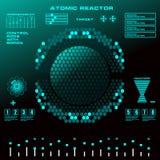 Interfaz de usuario gráfica virtual futurista del tacto del reactor atómico Fotos de archivo libres de regalías
