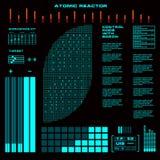 Interfaz de usuario gráfica virtual futurista del tacto del reactor atómico Imagen de archivo