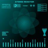 Interfaz de usuario gráfica virtual futurista del tacto del reactor atómico Foto de archivo libre de regalías