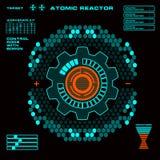 Interfaz de usuario gráfica virtual futurista del tacto del reactor atómico Imágenes de archivo libres de regalías