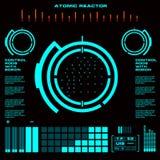 Interfaz de usuario gráfica virtual futurista del tacto del reactor atómico Imagenes de archivo