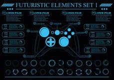 Interfaz de usuario gráfica virtual futurista del tacto, HUD imagenes de archivo