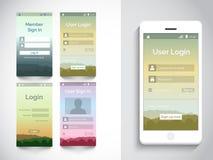 Interfaz de usuario móvil con el uso del inicio de sesión Foto de archivo libre de regalías