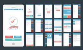 Interfaz de usuario móvil para el concepto en línea de las compras stock de ilustración