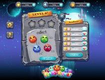 Interfaz de usuario para los juegos de ordenador y el diseño web con los botones, los premios, los niveles y otros elementos Sist Imagen de archivo