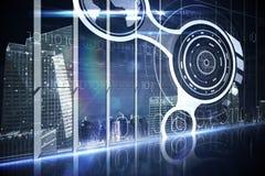 Interfaz del holograma en ciudad de desatención de la oficina Imágenes de archivo libres de regalías