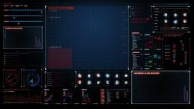 Interfaz del indicador digital gráfico de la tecnología, pantalla futurista de los datos de la operación de ordenador 1 ilustración del vector