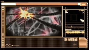 Interfaz digital médico que muestra la neurona que se mueve a través de sistema nervioso stock de ilustración