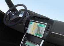 Interfaz elegante de la navegación del coche en diseño original Fotos de archivo