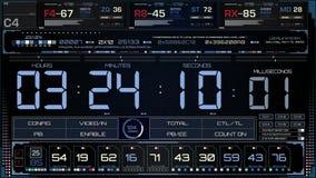 Interfaz futurista de la pantalla del código del tiempo almacen de video