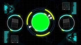 Interfaz geométrico gráfico del polígono en pantalla del verde de la llave de la croma con números, la escala, la muestra del aná libre illustration