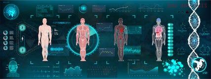 Interfaz médico moderno de la atención sanitaria A de HUD stock de ilustración
