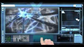 Interfaz médico que muestra la investigación médica y las neuronas almacen de metraje de vídeo