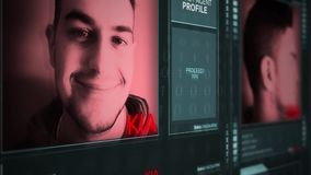 Interfaz operativo futurista del perfil del agente secreto de Digitaces - kia almacen de video