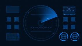 Interfaz tecnológico futurista GUI azul del fondo stock de ilustración