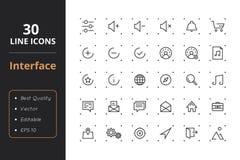 30 interfejsów Kreskowych ikon Zdjęcie Stock