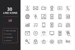 30 interfejsów użytkownika Kreskowych ikon Obraz Royalty Free