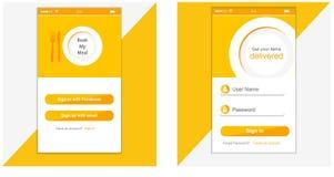 Interfejs Użytkownika, podaniowy szablonu projekt dla telefonu komórkowego zdjęcia royalty free