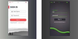 Interfejs Użytkownika, podaniowy szablonu projekt dla telefonu komórkowego ilustracji