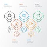 Interfejsu konturu ikony Ustawiać Kolekcja stabilizator Zdjęcia Stock