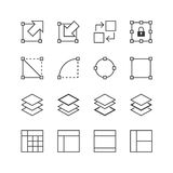Interfejsu Użytkownika & grafiki elementów ikona ustawia 2 - Wektorowa ilustracja, Kreskowe ikony ustawiać Zdjęcie Royalty Free