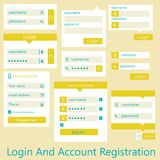 Interfejsu użytkownika konta i nazwy użytkownika rejestracja Obraz Stock